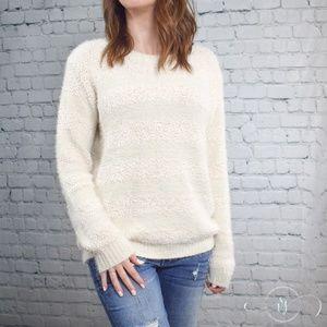 Ivory Plush Striped Sweater